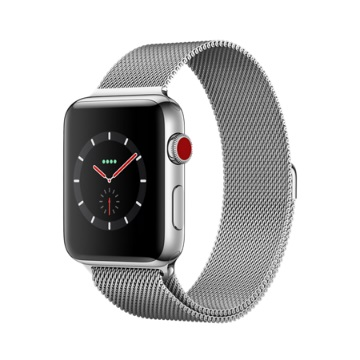 【LTE版 42mm】Apple Watch S3/不鏽鋼/米蘭錶環