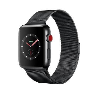 【LTE版 42mm】Apple Watch S3/太空黑不鏽鋼/太空黑米蘭錶環
