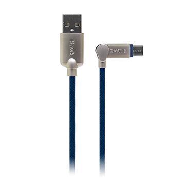 Hawk可彎折Micro USB充電傳輸線-1.5M(藍)