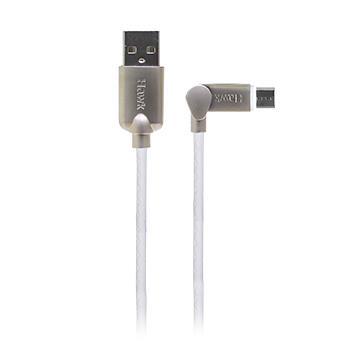 Hawk可彎折Micro USB充電傳輸線-1.5M(白)