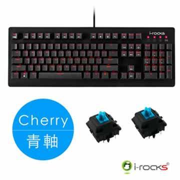 i-Rocks 紅光機械式鍵盤-黑(Cherry青軸)(IRK65MS-BK(BL))