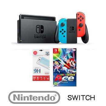 「期間限定」【瑪利歐網球趣味組】Nintendo Switch 主機 - 電光藍/紅